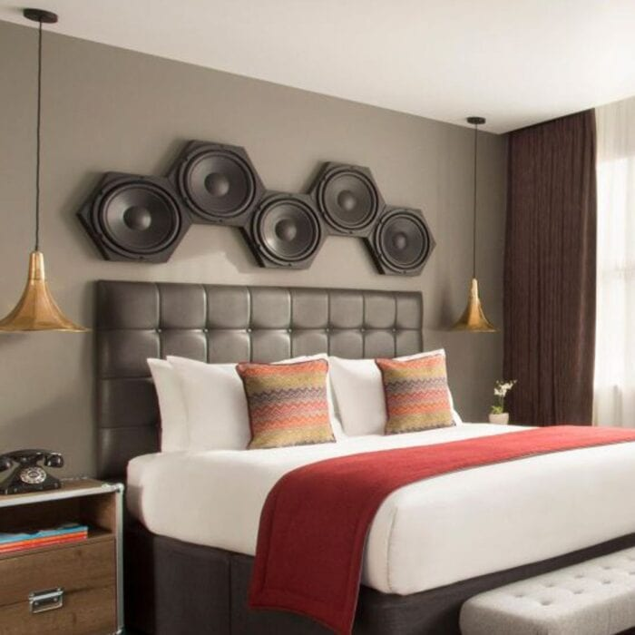 Contract furniture for bedroom with speakers above headboard