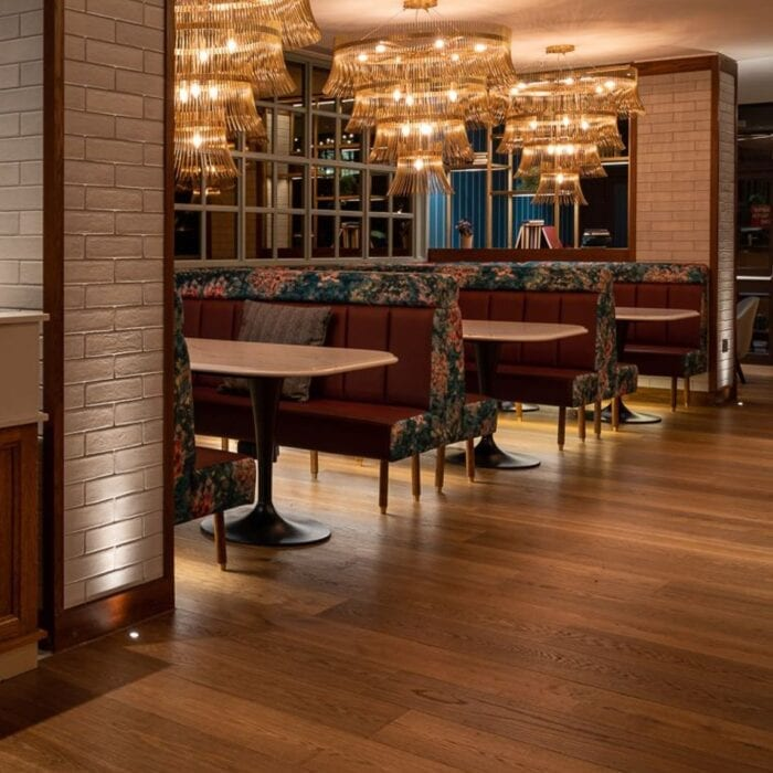 bespoke banquette seating in hotel