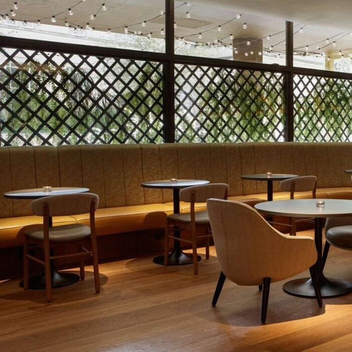 Chairs, Tables and banquette seating for hotel bar