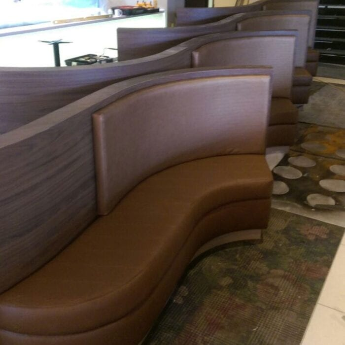 Unique banquette seating in hotel