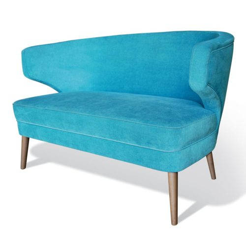 front view of design sofa with wooden legs