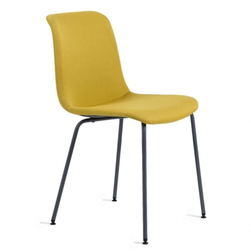 Cool chair with black powder coated metal legs and upholstered shell