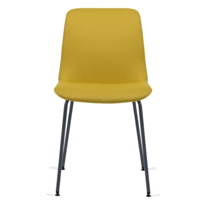 Front view of Cool chair with upholstered seat and metal legs