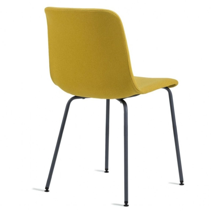 Back view of Cool chair with upholstered seat and metal legs