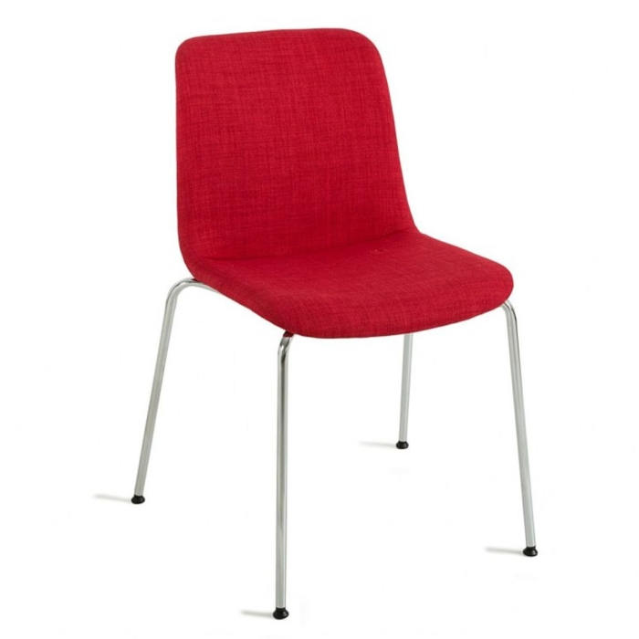 View of Cool chair showing metal legs and upholstered shell