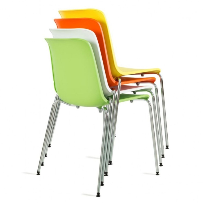 Image showing the Cool chair with metal legs stacked up