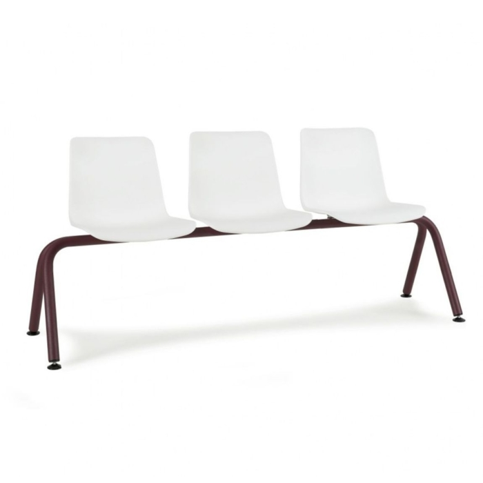Diagonal view of Cool Bench with polypropylene seats and metal frame