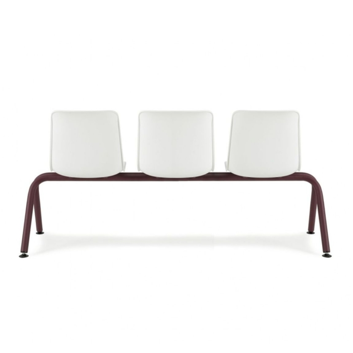 Back view of waiting area bench. Metal frame and polypropylene seats, range of sizes available