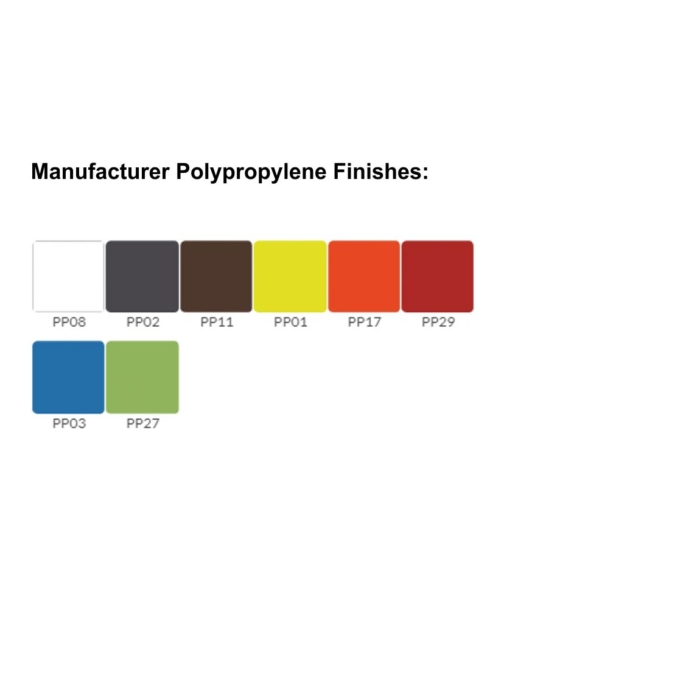 Image showing range of polypropylene finishes available for Cool Bench