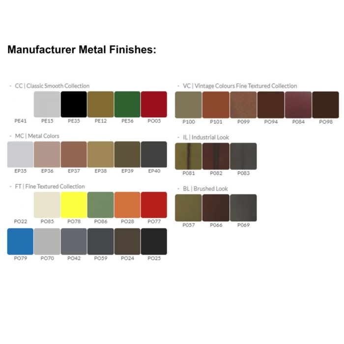 Image showing the range of metal finishes available for Cool Bench
