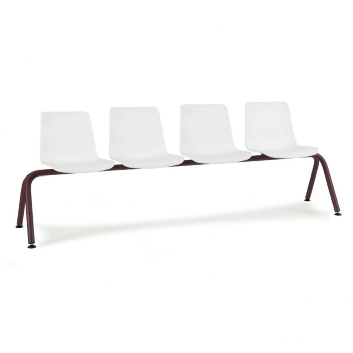 Diagonal view of waiting area bench with polypropylene seats and metal frame
