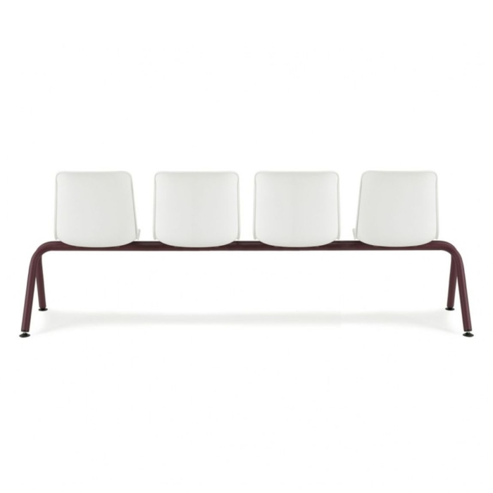 reception area bench with polypropylene seat and metal frame