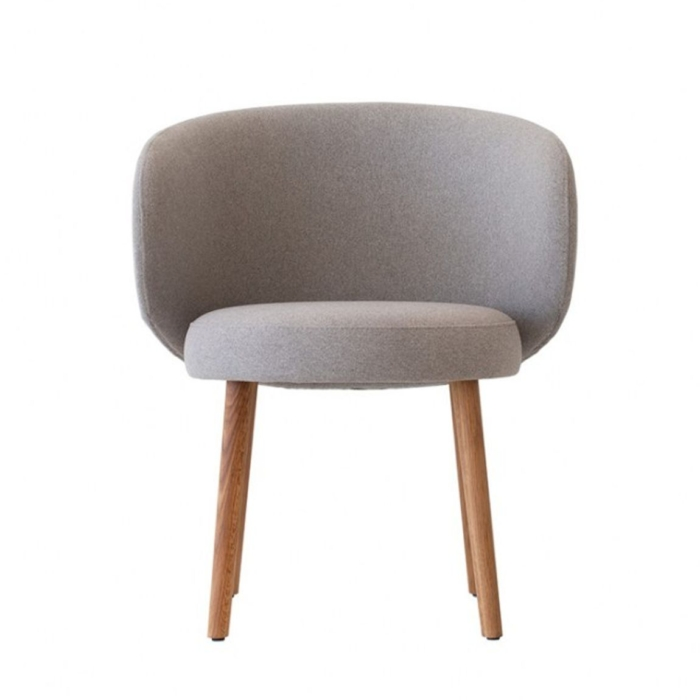 front view of upholstered Evie armchair with wooden legs