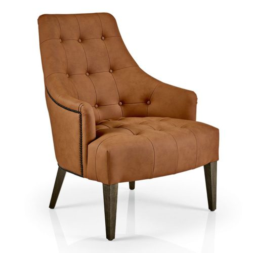 front view of hanna lounge armchair with studding, buttoned back and quilted seat