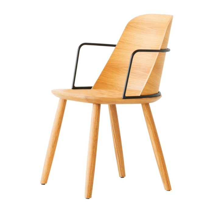 slightly angled front view of dining armchair with metal armrests and wooden seat