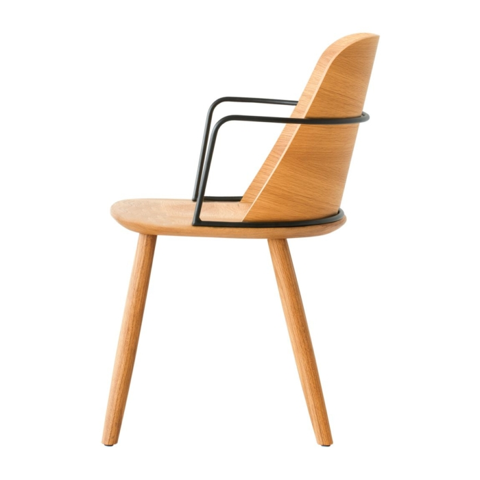 side view of dining armchair with wooden seat and metal armrests