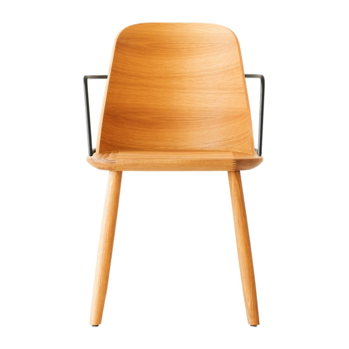 front view of dining armchair with metal armrests and wooden seat