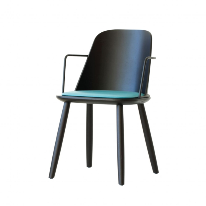 front view of dining armchair with metal armrests and upholstered seat pad