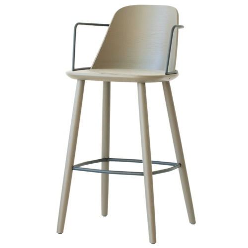 bar stool with wooden seat and metal arms. Part of the contract furniture range