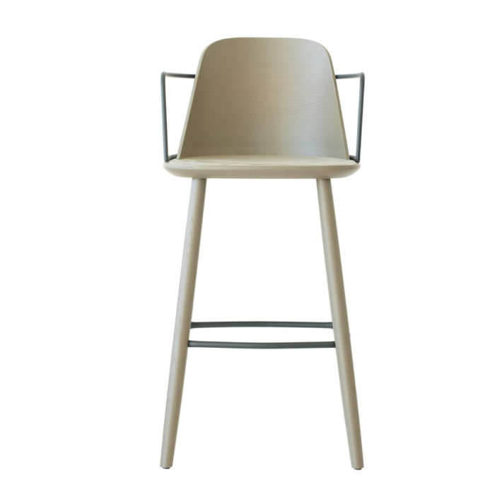 bar stool front view showing wooden seat and frame with metal armrests