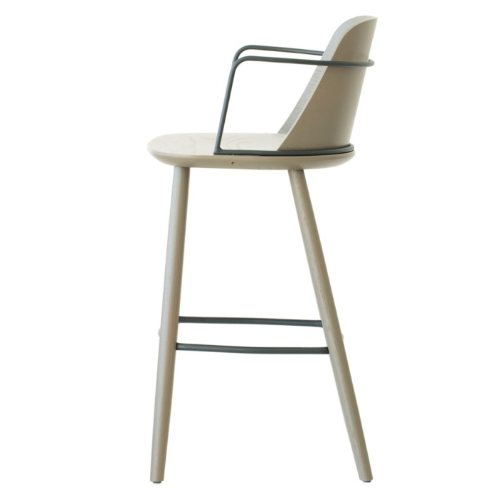 bar stool side view showing wooden frame and metal armrests