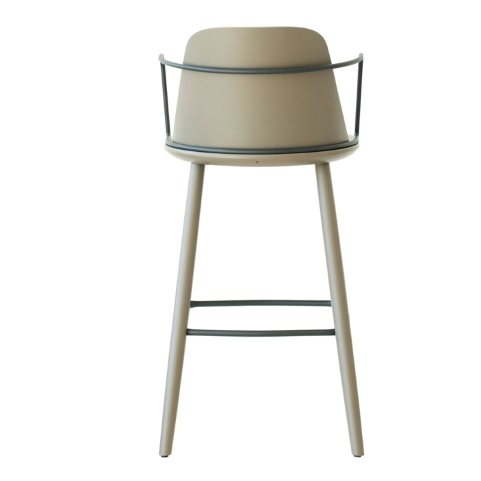 back view of bar stool viewed straight on. Metal armrest. Suitable for commercial use
