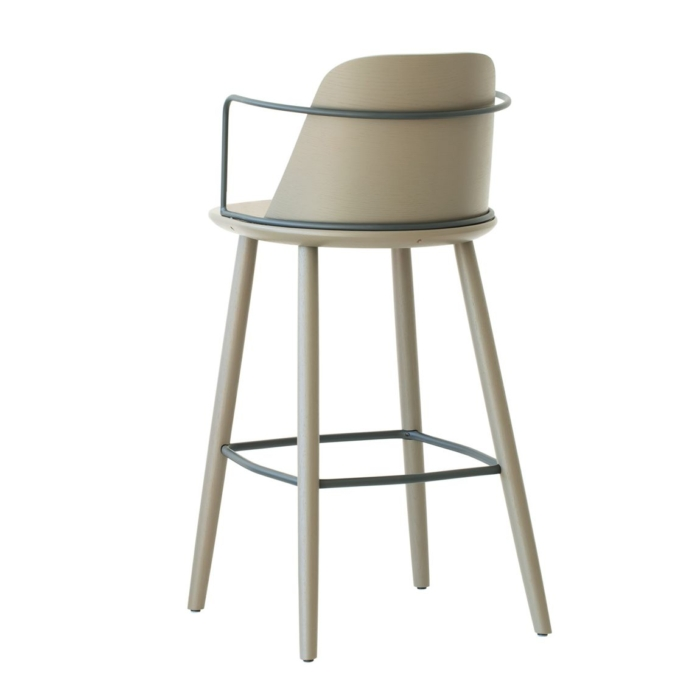 bar stool contract furniture back view of wooden frame and metal armrests