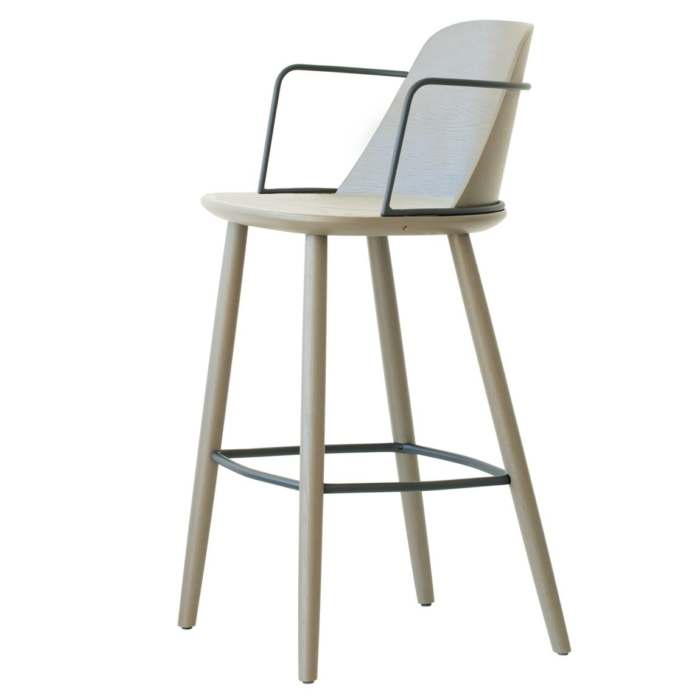 bar stool with metal arm rests suitable for hospitality environments