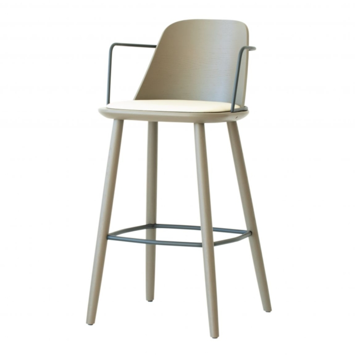 bar stool with metal arms, wooden frame and upholstered seat. Suitable for contract use
