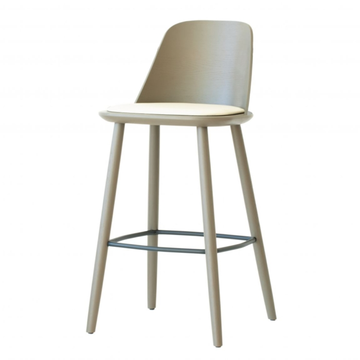 bar stool with upholstered seat. Wooden frame and metal footrest