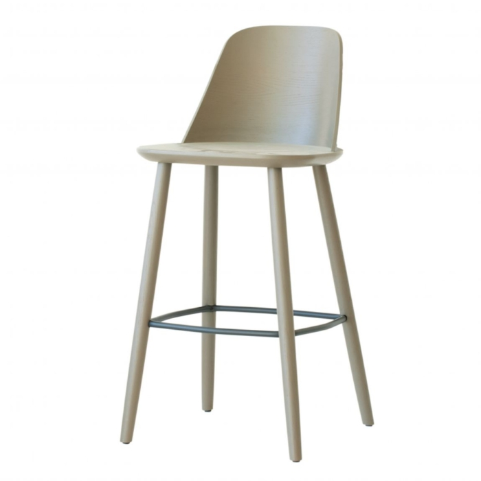 bar stool angled view showing wooden seat and frame and metal footrest