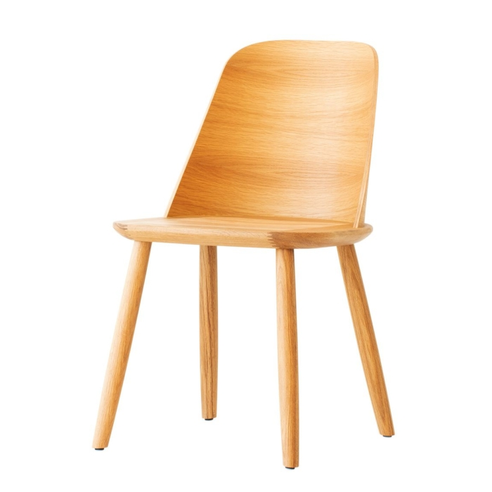 slightly angled view of dining chair with wooden seat