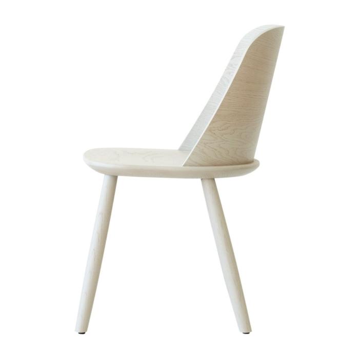 side view of dining chair with wooden seat