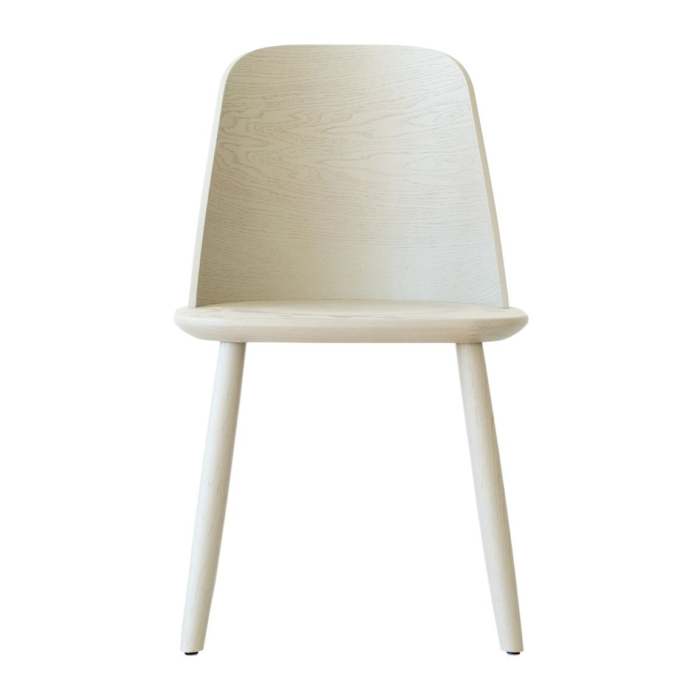 front view of dining chair with wooden seat
