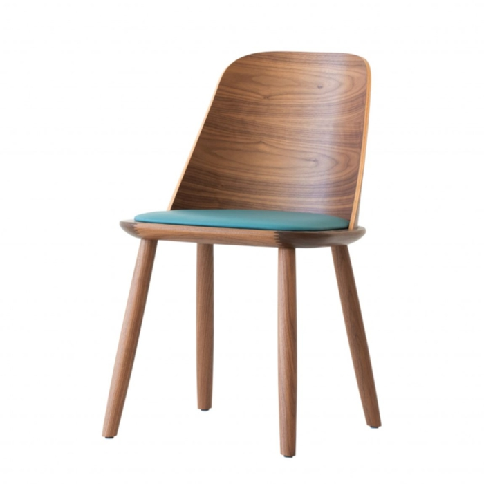 front view of dining chair with upholstered seat pad