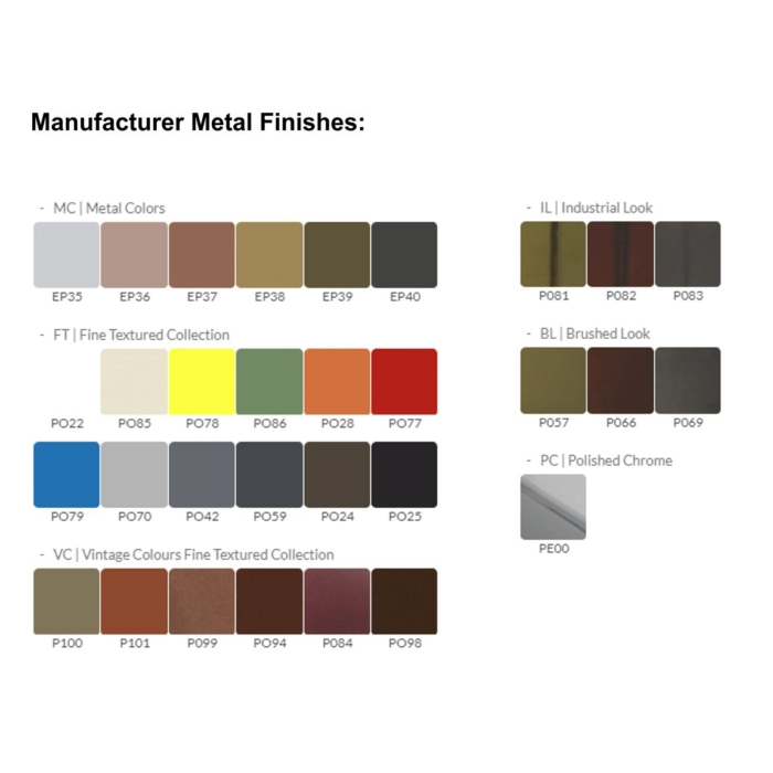 manufacturer metal finishes showing the finishes that the armrests are available in