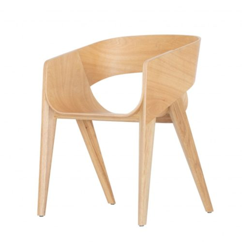alternative view of the Slim armchair in a light wood finish