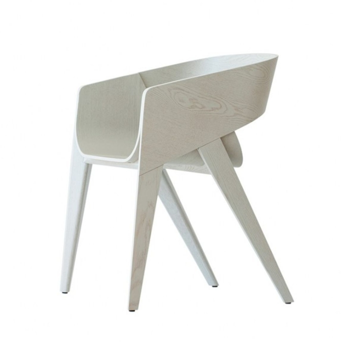 alternative view of the Slim armchair in a whitewashed finish