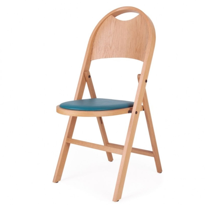 Slim folding chair with an upholstered seat pad