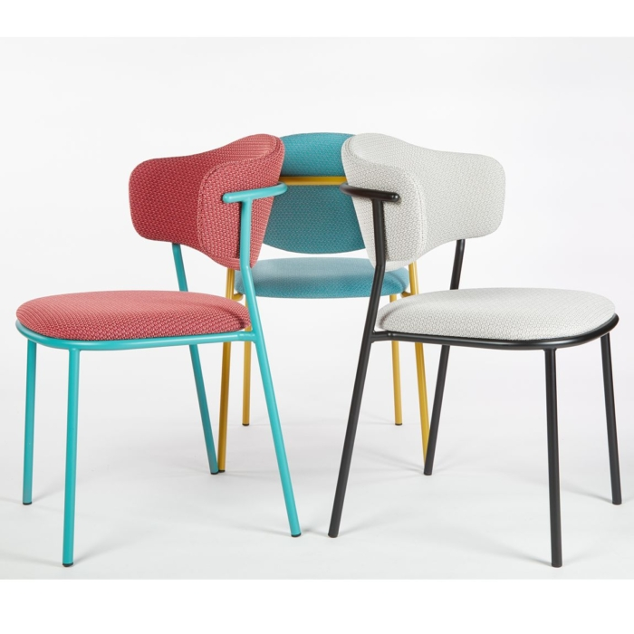 group shot of the sweetly chair showing different powder coated finishes