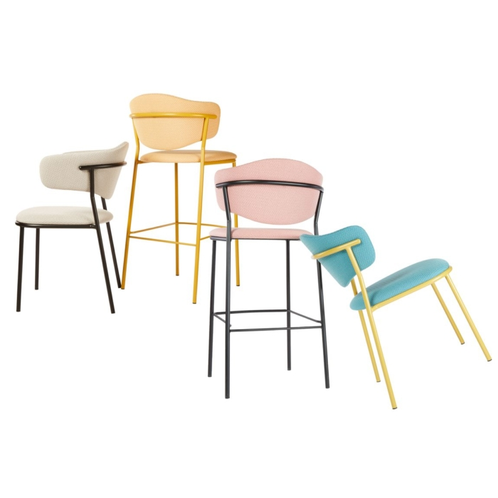 group shot showing the sweetly range including chair, armchair and bar stools