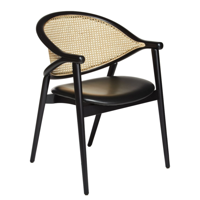 umami armchair with an upholstered seat pad and cane back rest