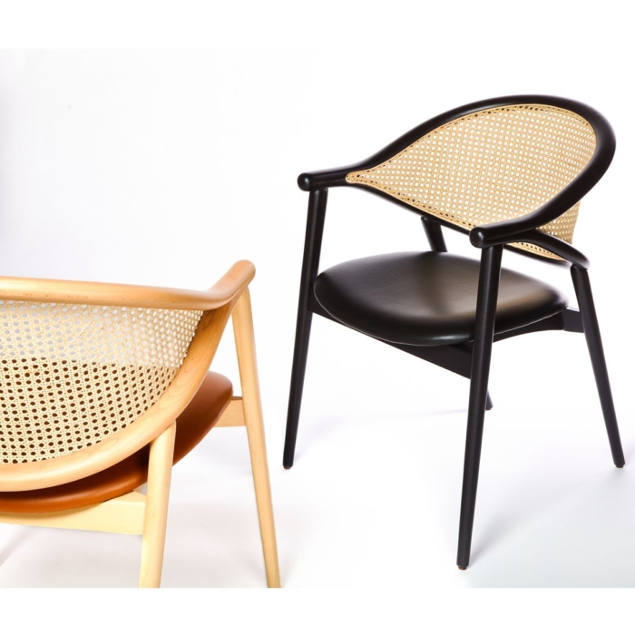 Umami cane armchair with upholstered seat and cane style backrest