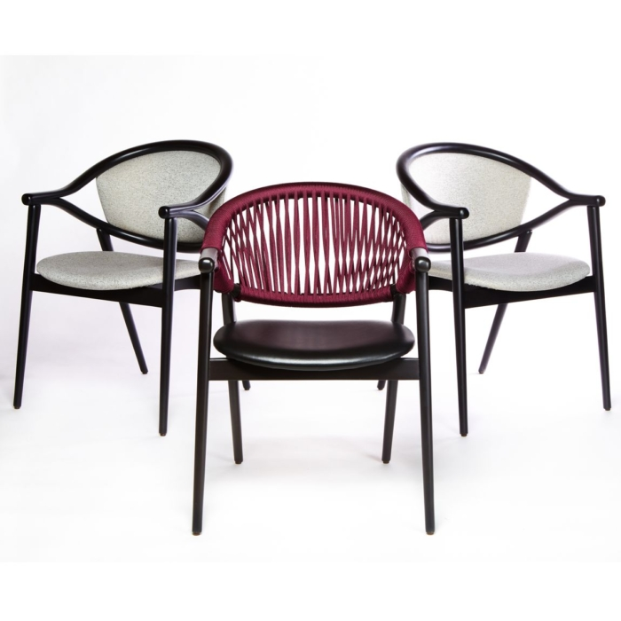 triple view of umami armchair with upholstered seat pads and rope style or upholstered back rest