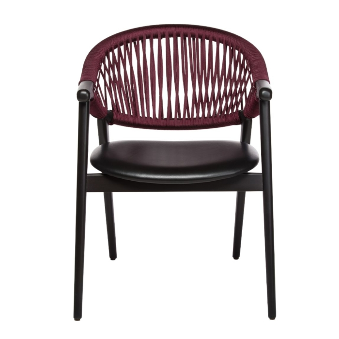 front view of the umami armchair with rope backrest