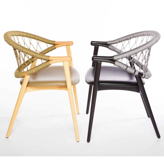 side view of the umami armchair with rope back rest