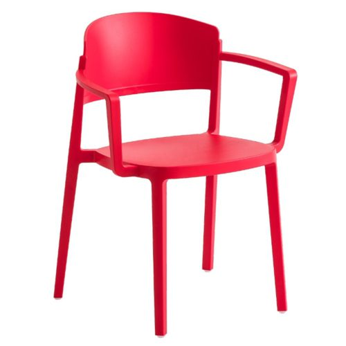 front view of the abuela armchair in a red finish