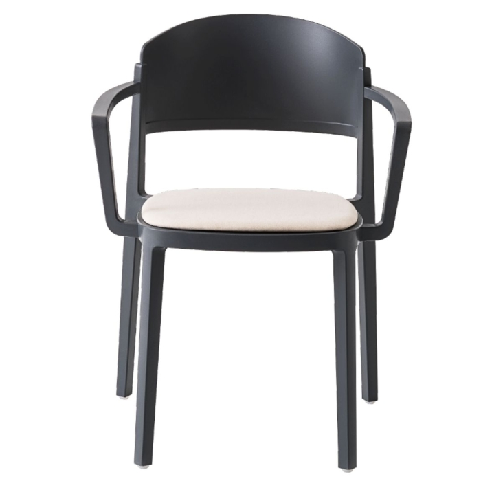 front view of the abuela armchair suitable for the contract furniture market