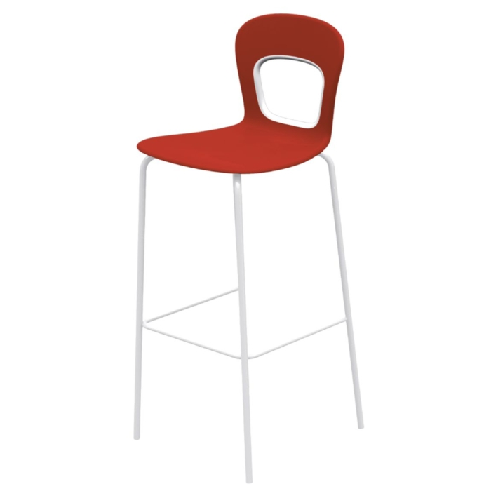 blog stool with a red shell and chrome frame