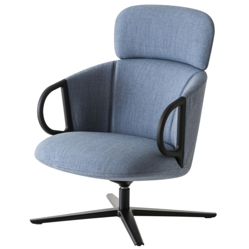 front view of highback swivel lounge armchair